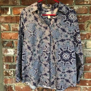 Chico's long sleeve button down shirt size 1